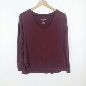 American Eagle soft & sexy v neck high low tee